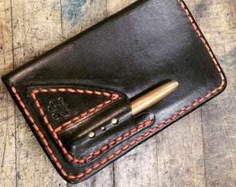 Bifold men's wallet field notes cover with pen slip