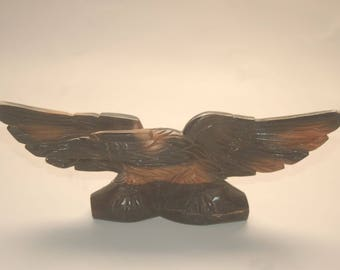Carved Wood Eagle Statue