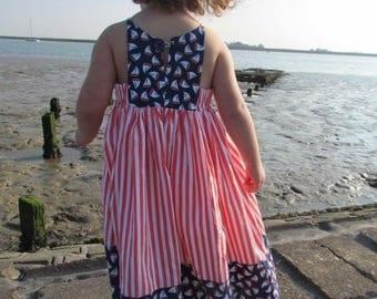 Girls nautical dress, girls cotton dress, baby clothes, girls dress, baby girl dress, baby girl nautical cotton dress, dress, dresses