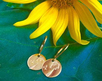 Charming Gold Filled Dandelion Earrings