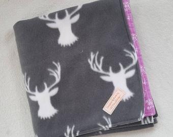 Deer Head Fleece and Cotton Blanket