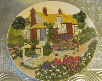 3-D Cottage and Garden Plate, Hand Painted with Hanger on Back