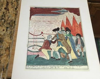 AMERICAN PRIMITIVE WATERCOLOR Print:The Prodigal Son Reclaimed, Mary Ann WIllson