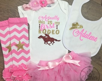 Baby girl rodeo outfit Actually this is my first rodeo baby girl cowgirl outfit Baby girl outfit New baby gift baby shower gift girl horse