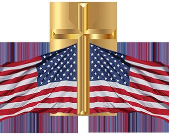 Cross and U.S. Flag