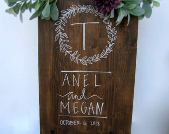 Welcome Sign for Wedding - Initial's Welcome Sign - Wood Sign - Wedding