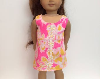 18 Inch Doll Clothes Dress Using Lilly Pulitzer Fabric Shift Dress entitled Ooh La La Fits Like American Girl Doll Clothes