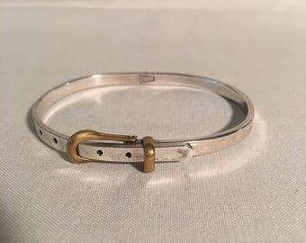 Vintage Sterling Silver Mexico Buckle Hinged Bracelet