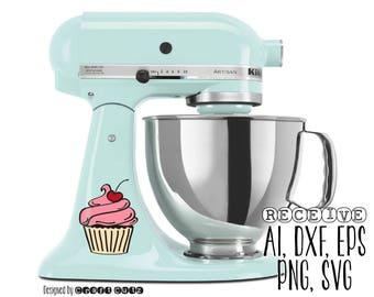 Cupcake Cut File - Cute Kitchenaid Decal - Mixer Decal - SVG