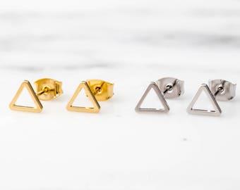 Gold Triangle Earring Set / Silver Triangle Stud Set / Geometric Triangle Earrings