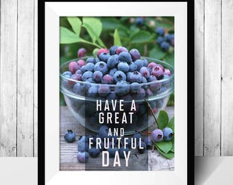 Instant Download - Blackberries Kitchen Wall poster Print - fruitful day poster