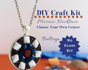 Child Friendly Jewelry Making Kit, No Glass Mosaic Necklace Activity Kid Safe Kit, Red, White, and Blue Kit, Gift for Future Crafters