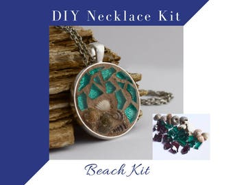 Jewelry Making Kit, Beach Colors with sea shells, Glass Mosaic Necklace Activity, Complete kit to make one necklace, DIY Craft Kit