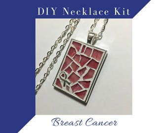 Make Your Own Necklace Craft, Breast Cancer Support Pink Ribbon Jewelry Kit, DIY Necklace Making Kit Complete Craft Do It Yourself Activity