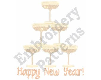 New Year Champagne Glasses Stack - Machine Embroidery Design