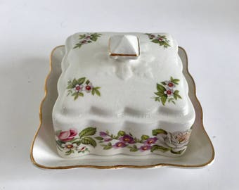 Vintage James Kent, Old Foley, Harmony Rose, Square Small Roses Butter Dish
