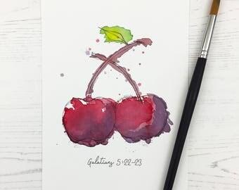 Watercolour Print, Fruit of the Spirit – Cherries, art print, home decor, watercolor, christian art, bible art