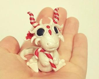 Polymer clay dragon, Christmas candy cane