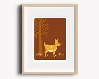 Deer Print - Home Decor - Woodland Prints - Deer Art Print - Wall Art