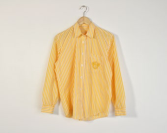 90s Striped Oxford, Vintage 90s Blouse, Long Sleeve Button Up, Loose Striped Blouse, Casual Summer Shirt, Pocket Front Shirt, Yellow Oxford