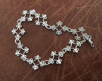 Silver plated fancy diamond shaped ankle bracelet