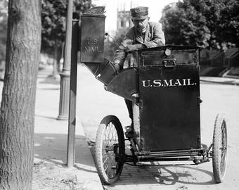 """1912 Post Office, Motorcycle Postman Vintage Photograph 13"""" x 19"""""""