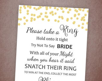 Don't Say Bride, Gold Confetti Bridal Shower Ring Game, Take a Ring, Bachelorette Party Games, Don't Say Bride Game, A001