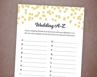 Wedding A - Z Shower Game Printable, Weddings Alphabet Bridal Shower Game, Bachelorette Party Alphabet Games, Gold Confetti Glitter, A001