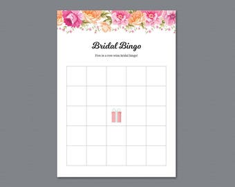 Bridal Bingo Printable, Bingo Cards Game, Vintage Flower, Bachelorette Bingo, Wedding Shower, Bridal Shower Games, Floral Template, A017