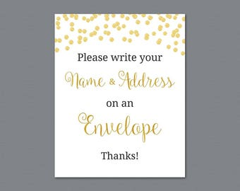 Name and Address Wedding Sign, Envelope Sign, Please Write Your Name and Address on the Envelope, Gold Confetti Bridal Shower, A004