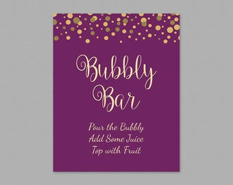 Bubbly Bar Table Sign, Mimosa Bar Sign, Bridal Shower Decorations, Royal Purple Gold Confetti, Wedding Sign, Cocktail Drink Table Sign, A006