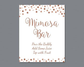 Mimosa Bar Sign Printable, Bubbly Bar Sign, Cocktail Drink Sign, Rose Gold Confetti Wedding Sign, Baby Shower, Bridal Shower Decor, A009
