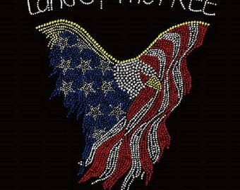 July 4th Land Of The Free Eagle Rhinestone Transfer or Relaxed Fit Lightweight T-Shirt    or  DIY Iron On Transfer            BMRJ