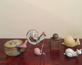 Lot Of 6 Vintage Snail Figurines
