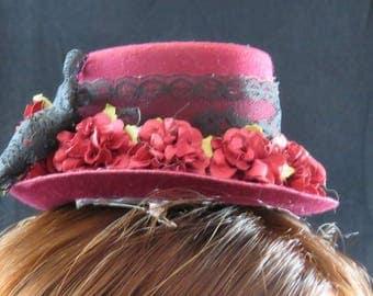 Burgundt and Black Mini Too Hat fascinator