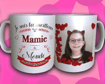 "Mug ""Best Grandma of the world"" with Photo and name"