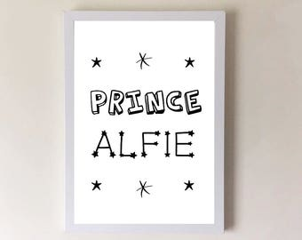 Nursery wall art, personalised prince, boys bedroom, boys nursery decor, nursery print, childrens room print, childrens wall art