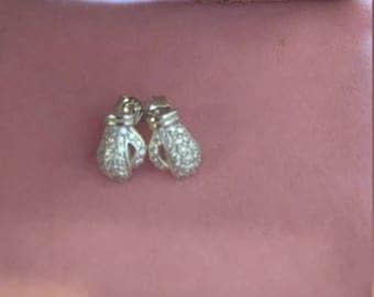 Silver boxing glove earrings