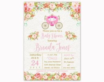 Princess Baby Shower Invitation, Princess Carriage Baby Shower Invite, Floral Baby Shower, Pink and Gold Baby Shower invitation, Printable