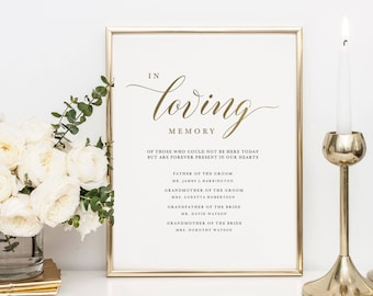 In Loving Memory Sign Template, Memorial Table Sign, Wedding Memorial Sign, Forever In Our Hearts Sign, Printable Memory Sign - KPC03_306
