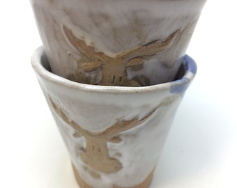 Hand-carved elk cup,nique,handmade,ceramic,pottery, coffee, tea cup, gift, housewarming , kitchen, dining
