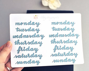 Days of the week hand lettered planner stickers in Emerald