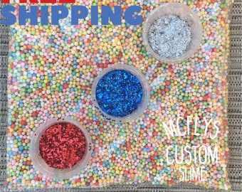 rainbow colored foam balls white styrofoam beads and glitter silver holographic red ruby royal navy blue - Polystyrene Beads