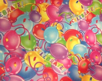 Vinyl/plastic table cover by the yard.. colorful balloons