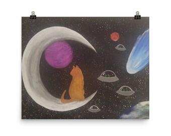Cosmic Cat Alien Invasion Poster