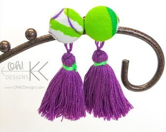 Purple and lime button cover tassel earrings