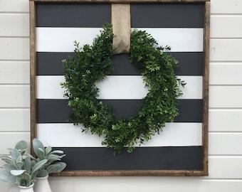 Boxwood wreath framed wood sign | faux boxwreath | black & white striped | rustic | farmhouse | stripes | burlap ribbon | shabby chic decor