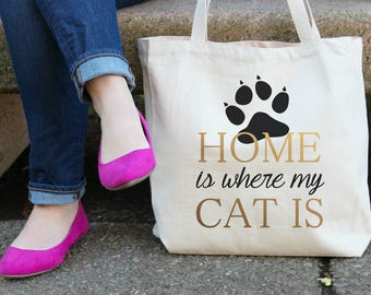 Home Is Where My Cat Is Canvas Tote Bag