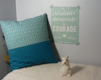 Square cushion - turquoise - geometric