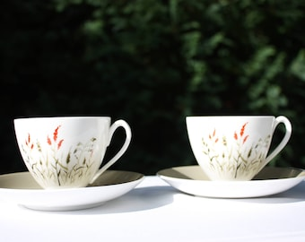 Queen Anne 'Nymph'  Tea Cups and Saucers -  Bone China - Made in England
